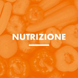 Scritta Nutrizione. Immagine arancione di frutta e verdura